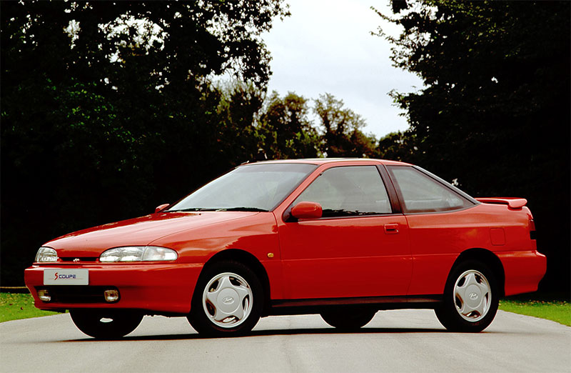 The 1992 Hyundai Scoupe, front three-quarter view.