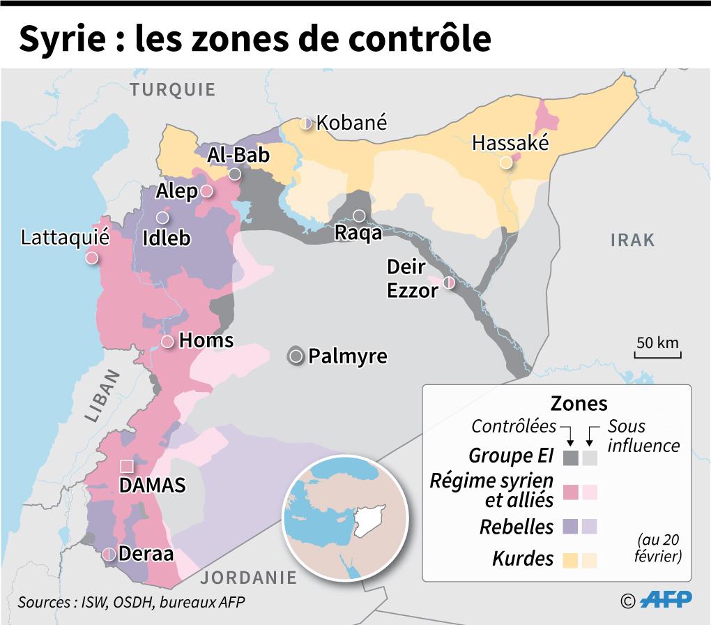 Les zones contrôlées par les belligérants en Syrie, au 20 février
