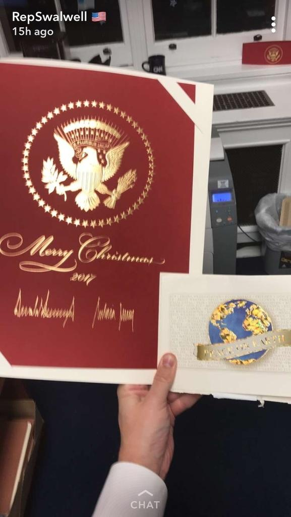 california congressman eric swalwell compared the christmas card he received from president donald trump to an average sized card in a snapchat story