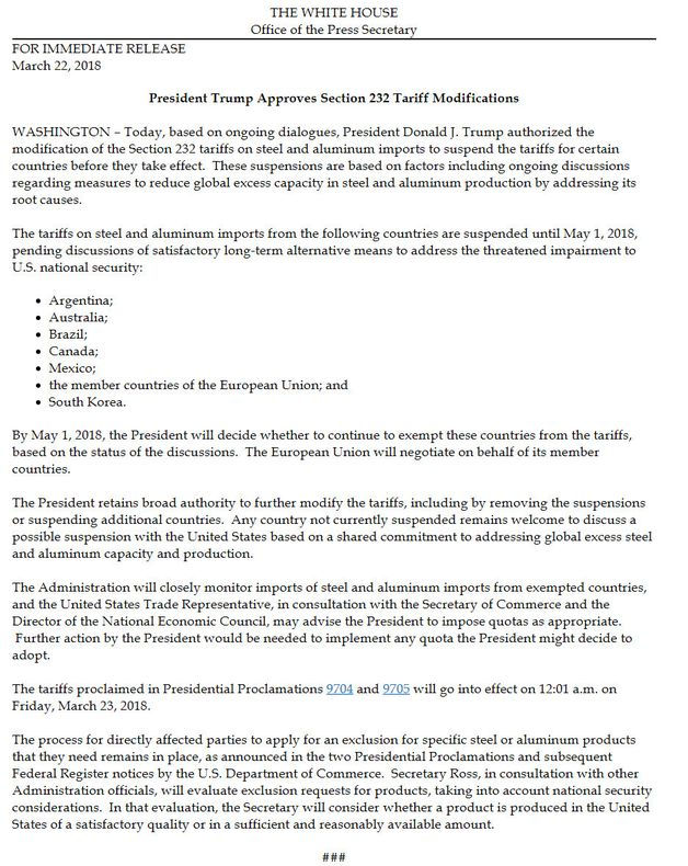 Comunicado lanzado por la Casa Blanca sobre la exención de impuestos al acero y
