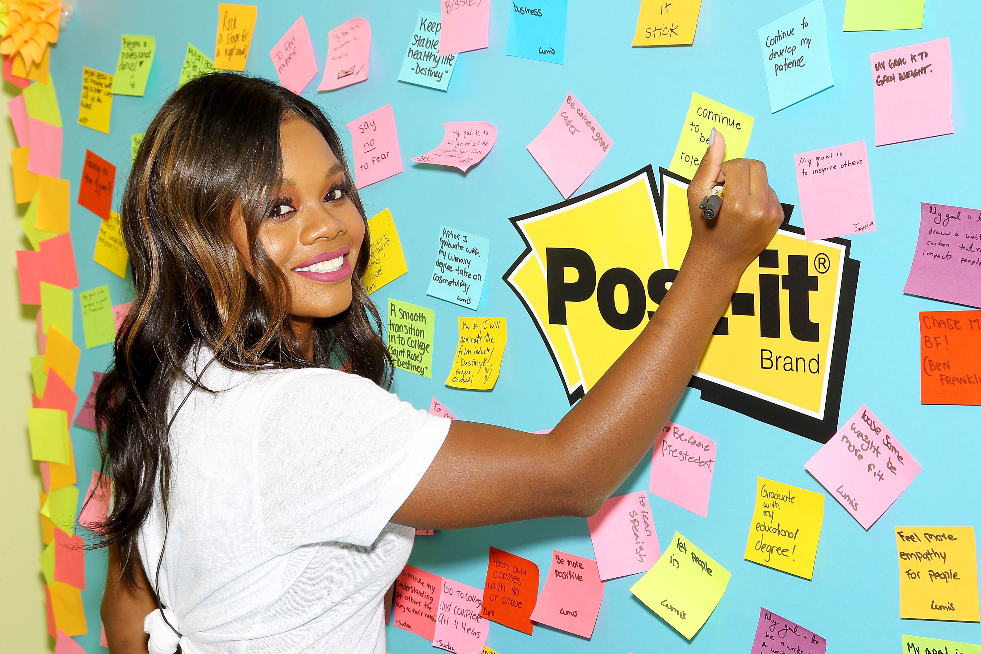 Star, Ok magazine, In Touch, Life and Style, Out - New York, NY - 7/25/17 -  Gabby Douglas and Post-it Brand talk to kids at Publicolor about how to Make it Stick during Back to School   -Pictured: Gabby Douglas -Photo by: Marion Curtis/StarPix -Location: Publicolor NYC