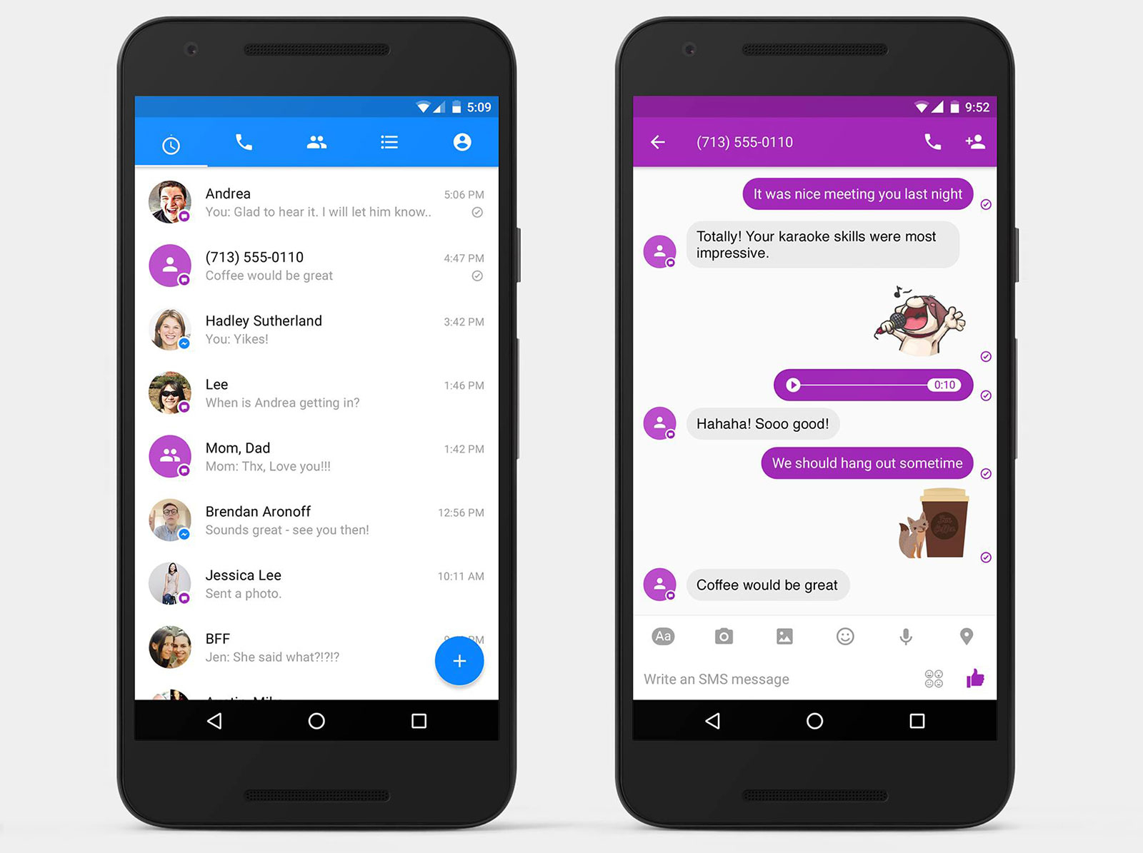 Android 版 Facebook Messenger 也能发 SMS 啊