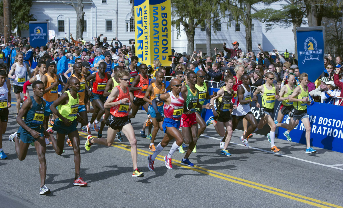 Apr 21, 2014; Hopkinton, MA, USA; A general view of the elite men's division start during the 2014 Boston...