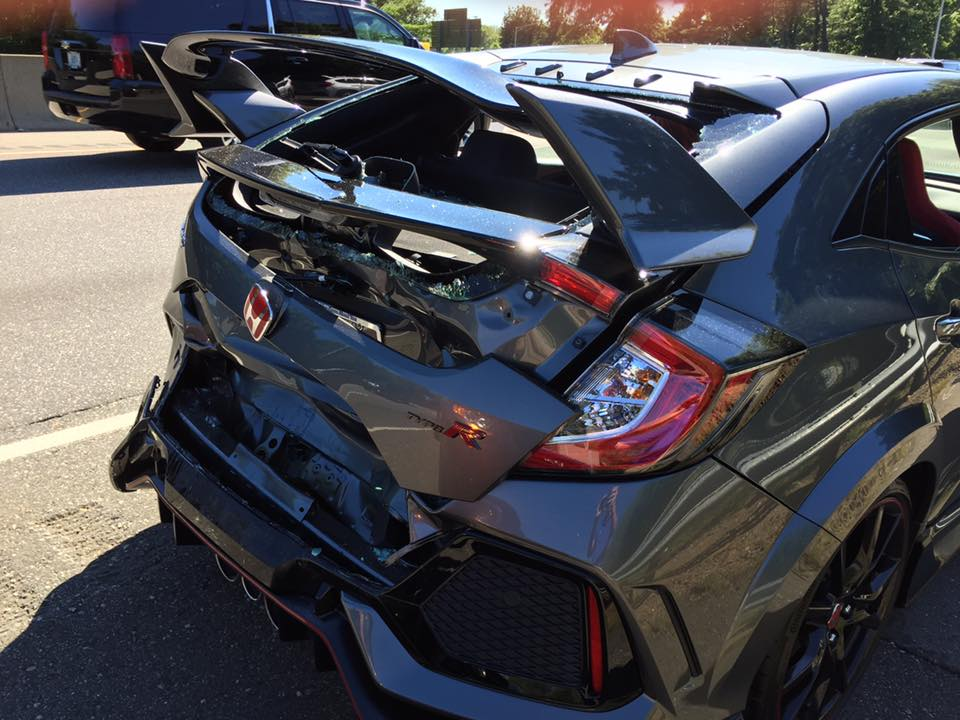 Brand-new 2017 Honda Civic Type R wrecked on drive home from dealer ...