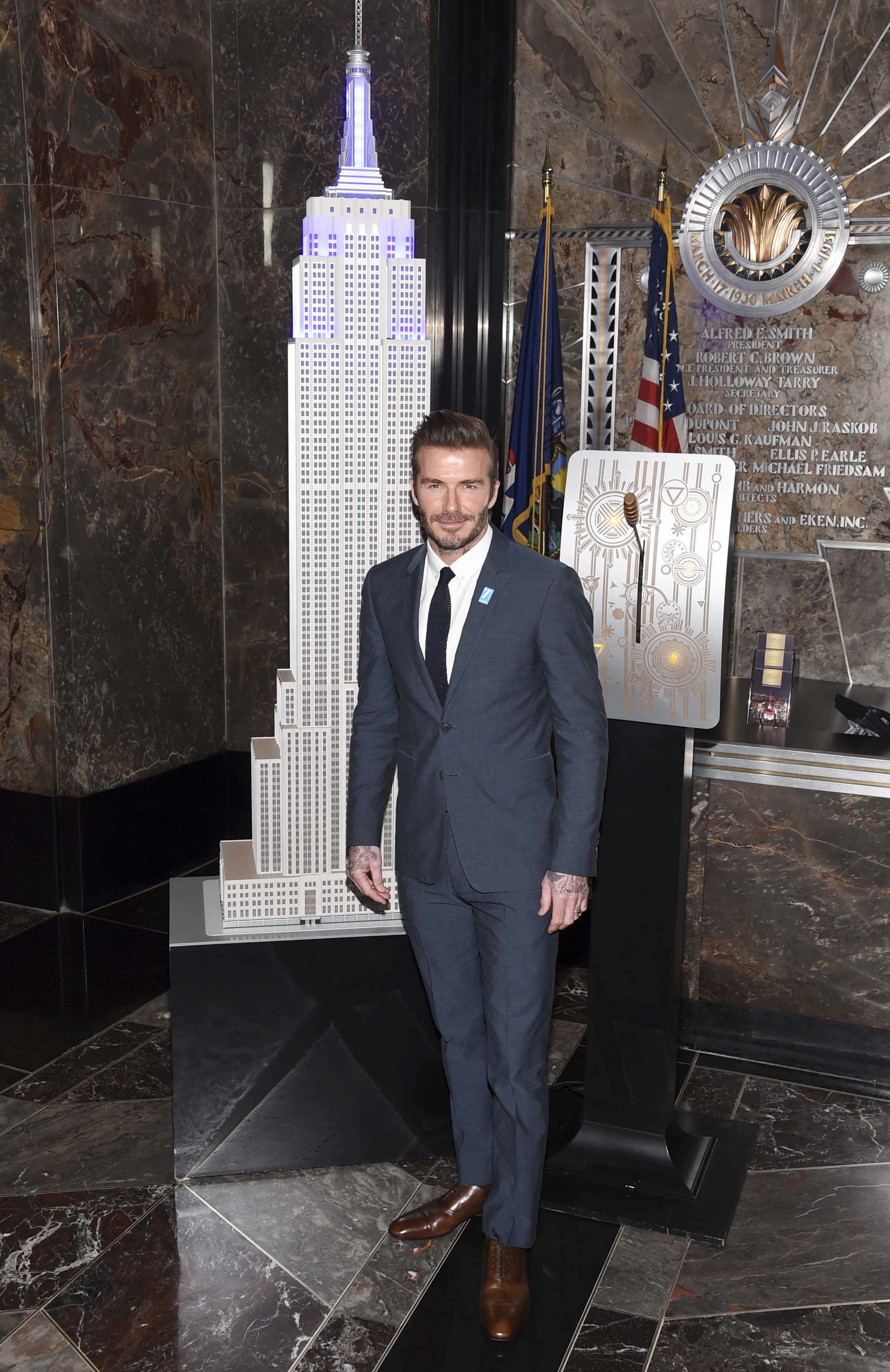 David Beckham Visits The Empire State Building For UNICEF