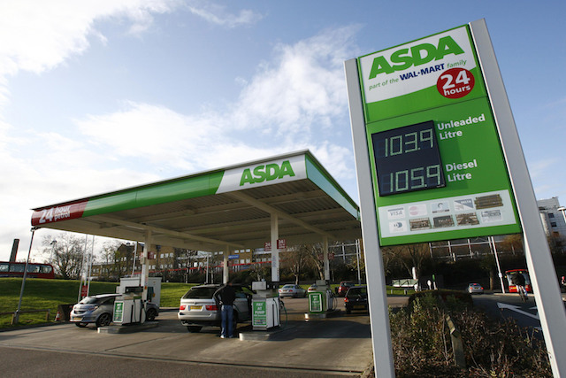 An Asda petrol station in the Isle of Dogs in east London, as the supermarket announced a cut of up to 3p a litre at its pumps, making petrol prices 103.9 for unleaded and 105.9 for diesel.
