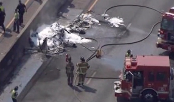 4 dead as plane crashes onto highway in Atlanta
