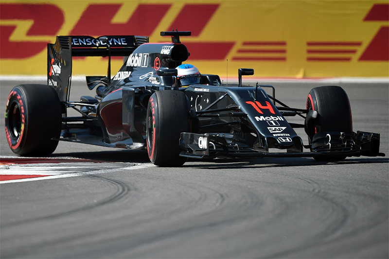 McLaren Honda F1 Team's Spanish driver Fernando Alonso steers his car during the Formula One Russian Grand Prix at the Sochi Autodrom circuit on May 1, 2016.