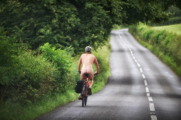 Naked man spotted cycling through UK village