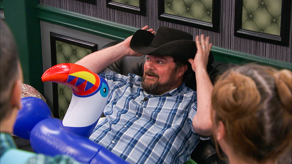 Bobby Moynihan, star of CBS' new fall comedy ME, MYSELF & I, surprise the Houseguests and host the Veto Competition, on BIG BROTHER, Wednesday, Sept. 6 (8:00 -- 9:00 PM, ET/PT) on the CBS Television Network.   Photo: screengrab/CBS ©2017 CBS Broadcasting, Inc. All Rights Reserved
