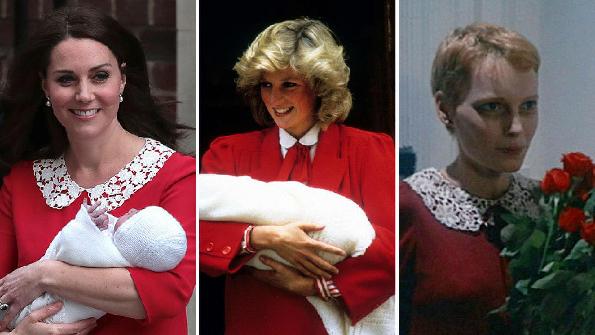 Kate Middleton presents Prince Louis in 2018. Princess Diana presents Prince Harry in 1984. Rosemary...