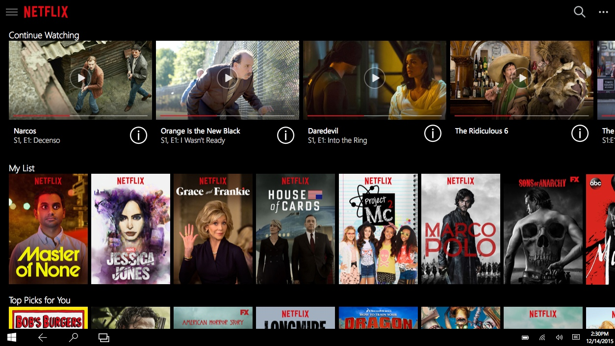 Netflix launches new universal app for windows 10 as windows store.