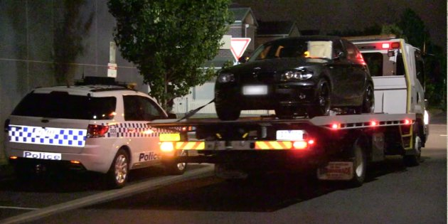 Police found the black BMW believed to be involved in the hit-and-run in an alleyway behind shops on...