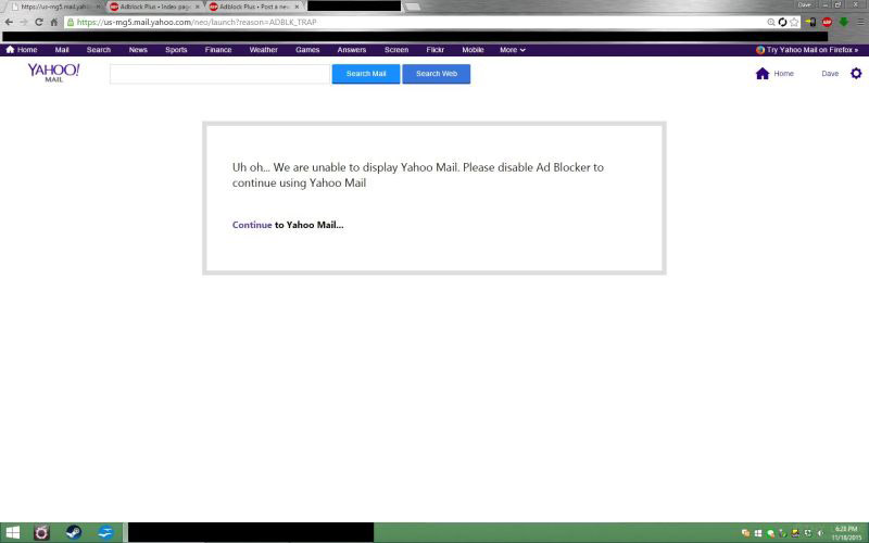 Yahoo restricting Mail accounts if it detects ad-blockers
