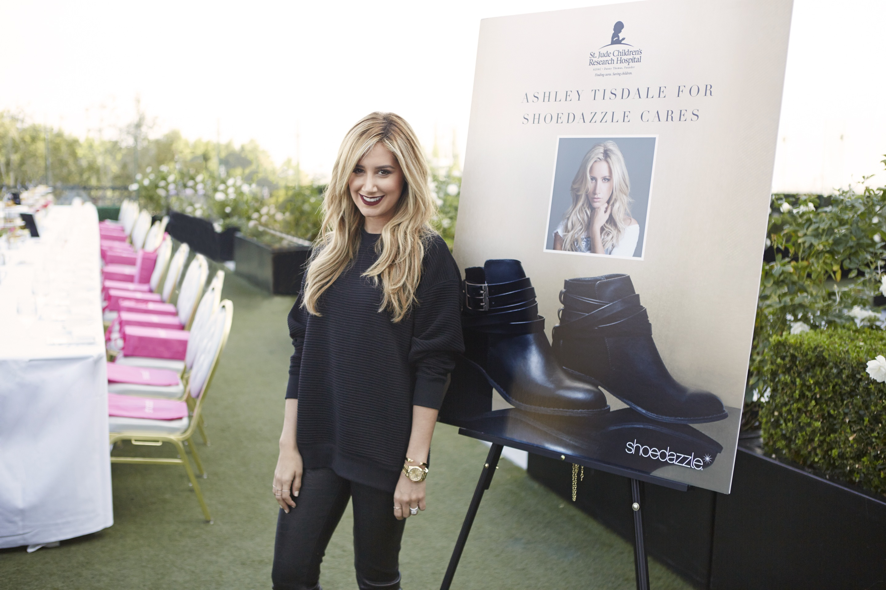 Ashley Tisdale attends the launch of her ShoeDazzle cares campaign benefitting St. Jude's Children's Research Hospital.