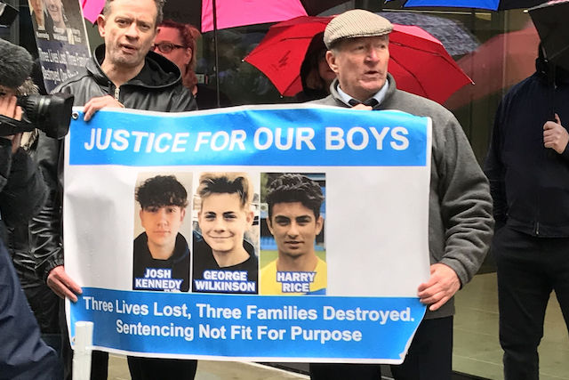 Protestors outside the Old bailey in central London ahead of the sentencing of drunk driver Jaynesh Chudasama who killed Harry Rice George Wilkinson, 16, and Josh McGuinness as they walked to a 16th birthday party.