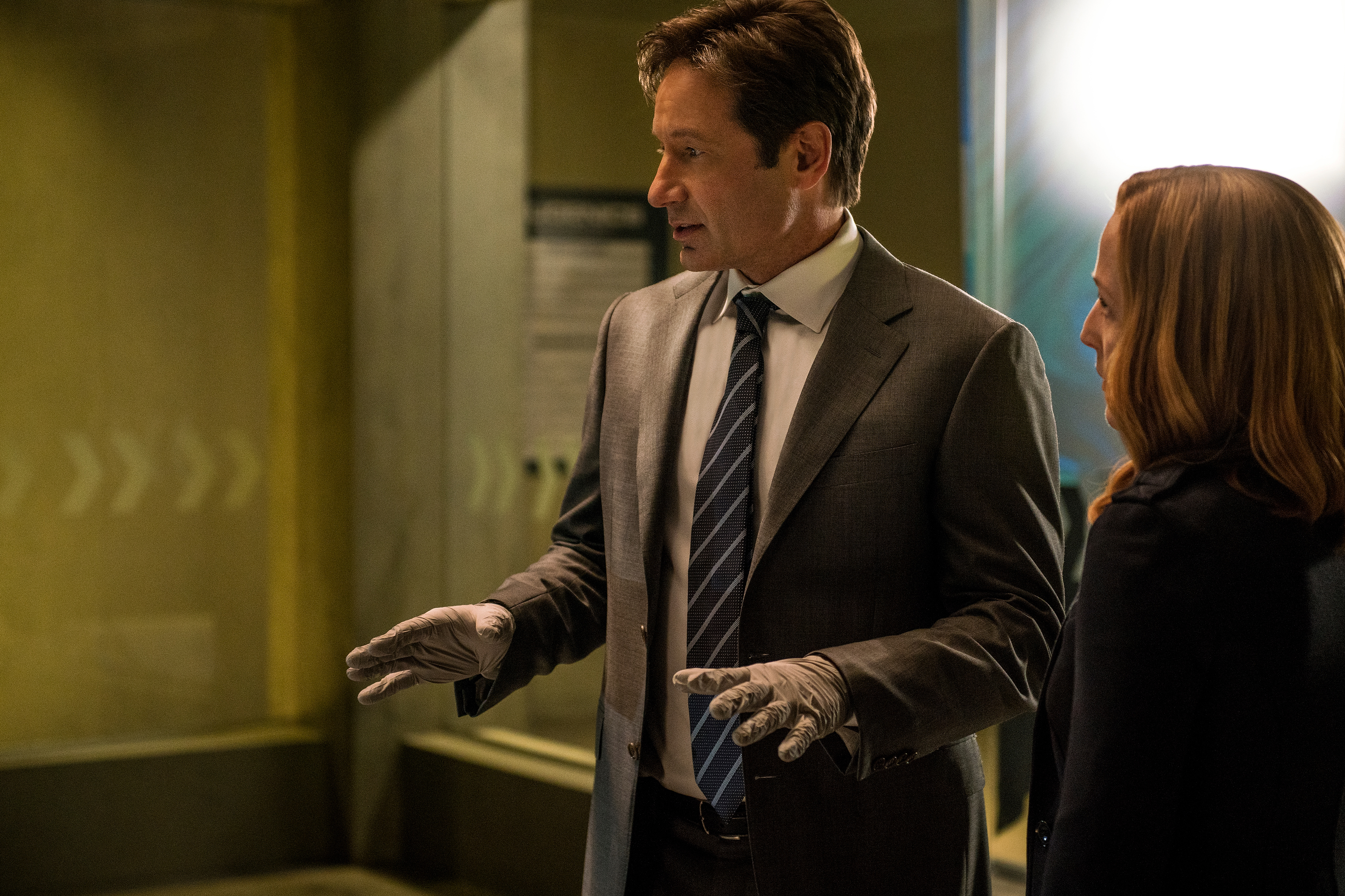 "THE X-FILES: L-R: David Duchovny and Gillian Anderson in the ""Founder's Mutation season premiere,..."