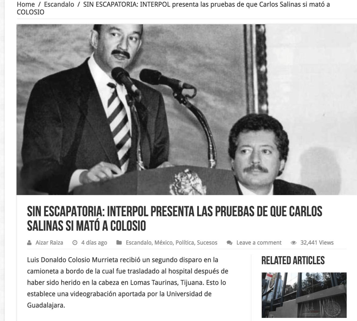 Dicen que Interpol tiene pruebas de que Salinas mató a Colosio, pero es