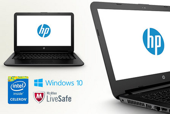 The HP 14-inch Jack Black Celeron notebook, available from Sainsbury's.