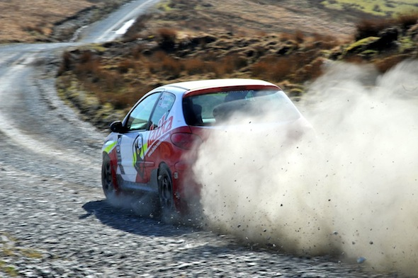 Rally car on gravel