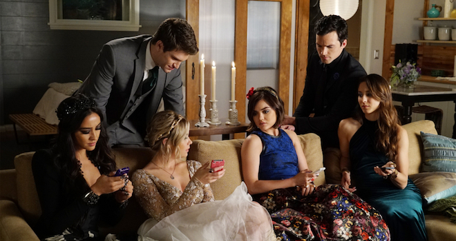 "PRETTY LITTLE LIARS - ""Last Dance"" - It is prom time at Rosewood High, except for Alison, Aria, Emily, Hanna and Spencer who have been banned due to ""security"" concerns. As the girls see this as the final humiliating blow to their high school careers the girls' mothers try to make the best of a bad situation by offering a home prom in Spencer's barn. At first reluctant, the PLLs agree and try to make the best out of a bad situation. But one to never miss a formal, Charles has other plans in store to make this a night they will never forget. Meanwhile, Veronica, Pam, Ashley and Ella use prom night to touch base on everything that has happened to their daughters, on an all-new episode of ABC Family's hit original series ""Pretty Little Liars,"" airing Tuesday, August 4th (8:00 - 9:00 PM ET/PT). (ABC Family/Eric McCandless) SHAY MITCHELL, KEEGAN ALLEN, ASHLEY BENSON, LUCY HALE, IAN HARDING, TROIAN BELLISARIO"