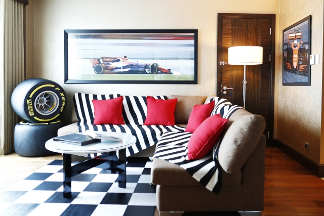 Hilton racing-themed hotel room