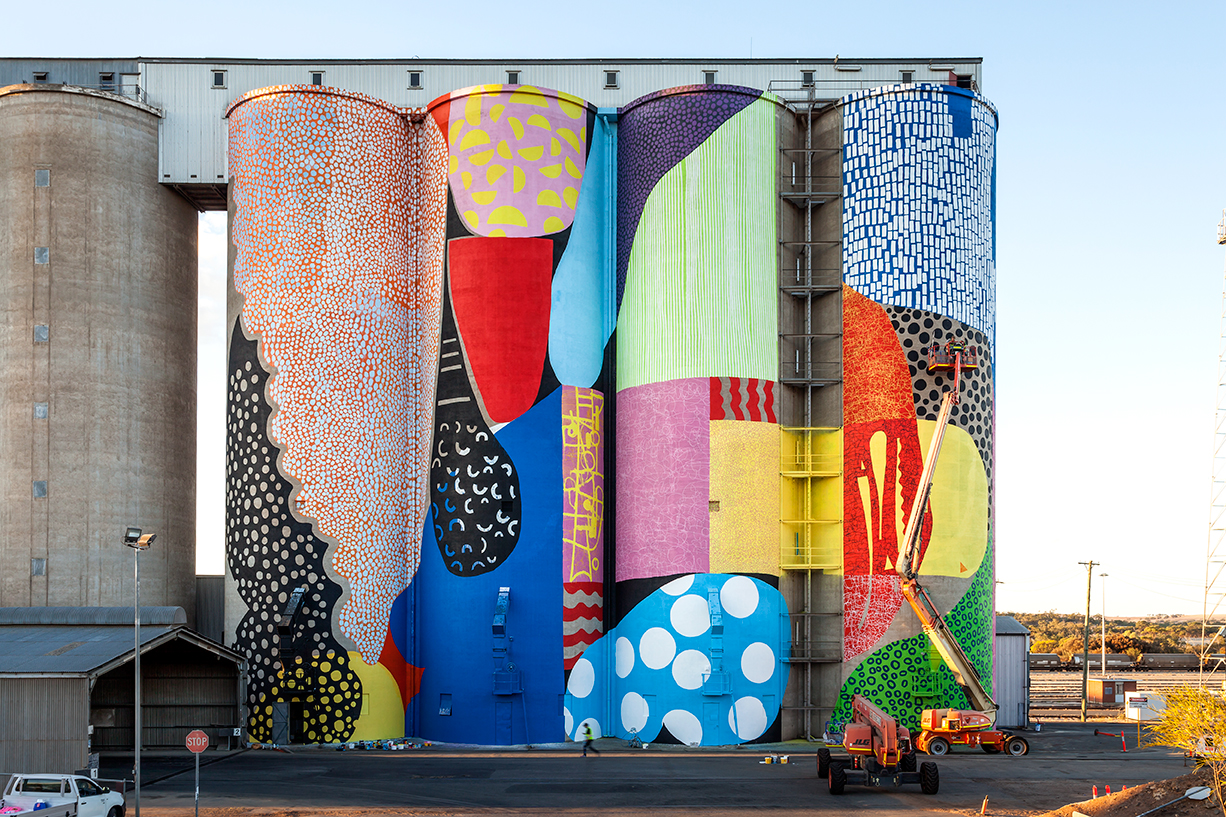 US artist Hense chose to paint the silos with vibrant, rich