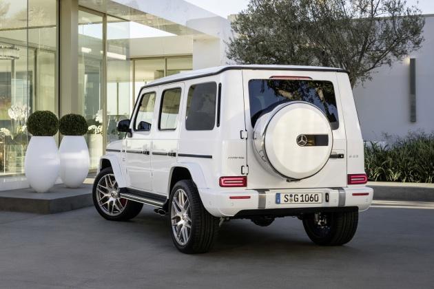 Mercedes-AMG G 63. Exterieur: designo mysticweiß bright, Exterieur-Edelstahl-Paket;Kraftstoffverbrauch kombiniert: 13,2 l/100km; CO2-Emissionen kombiniert: 299 g/km*  Mercedes-AMG G 63. Exterior: designo mysticwhite bright, Exterior-Stainless steel-Packet;Fuel consumption combined: 13,2 l/100km; CO2-emissions combined: 299 g/km*