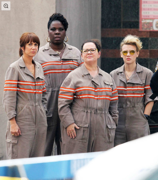 Exclusive... 51794317 Actresses Melissa McCarthy, Kristen Wiig, Leslie Jones, and Kate McKinnon are all together in their ghostbusting jumpsuits while filming scenes for the new 'Ghostbusters' movie in Boston, Massachusetts on July 9, 2015. In the scene, the new team were getting arrested and ticketed by the police. NO INTERNET USE WITHOUT PRIOR AGREEMENT FameFlynet, Inc - Beverly Hills, CA, USA - +1 (818) 307-4813 Photo: Patriot Pics/FAMEFLYNET PICTURES