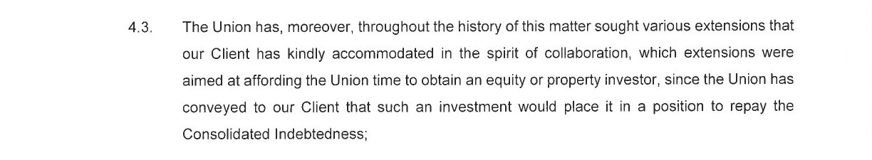 An extract from the letter by attorneys ENSAfrica on behalf of Remgro to the Western Province Rugby Football