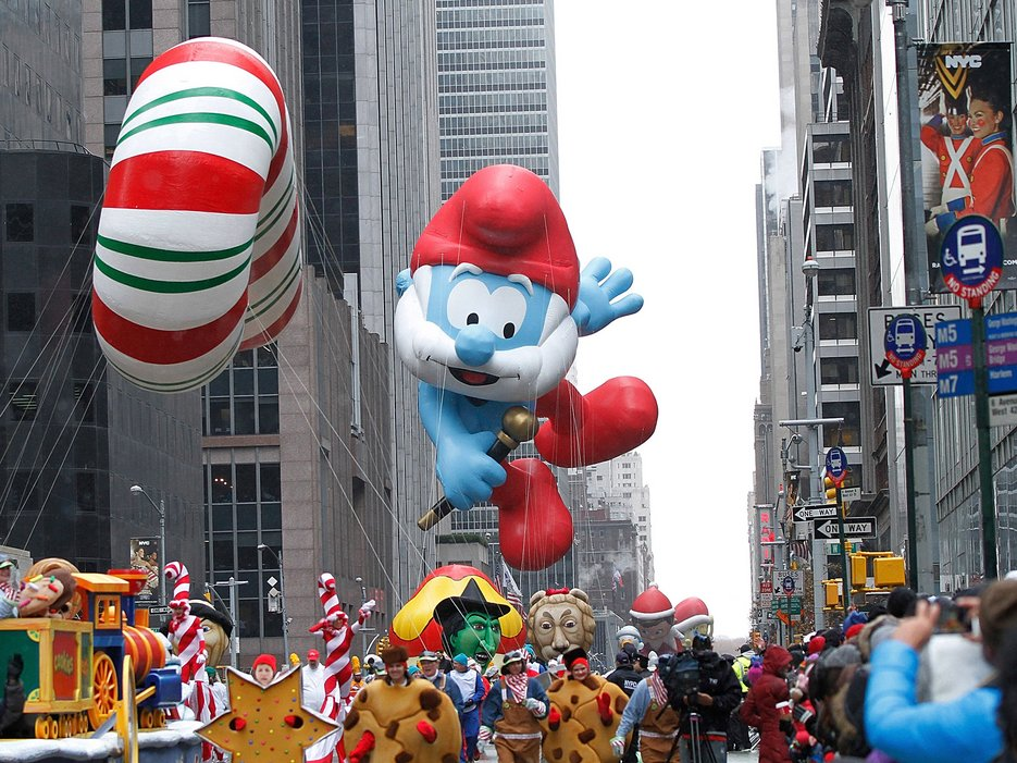 Papa Smurf float during the Macy's Thanksgiving Day Parade