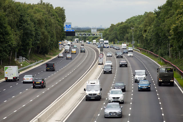 "Vehicles on the new13.4-mile long M3 ""smart"" motorway near Longcross, Surrey, between Farnborough and the M25."