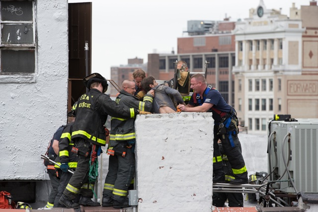 Man rescued after getting stuck in New York rooftop chimney