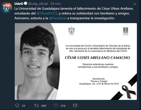La mayor casa de estudios de Jalisco, solicita la resolución del caso de César