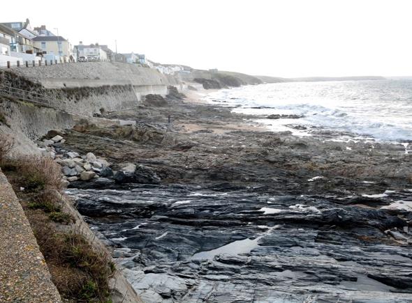 Cornwall beach left with no sand after massive storm