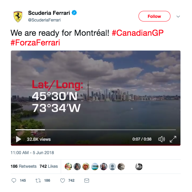 Ferrari Mistakes Montreal For Toronto in Canadian Grand Prix