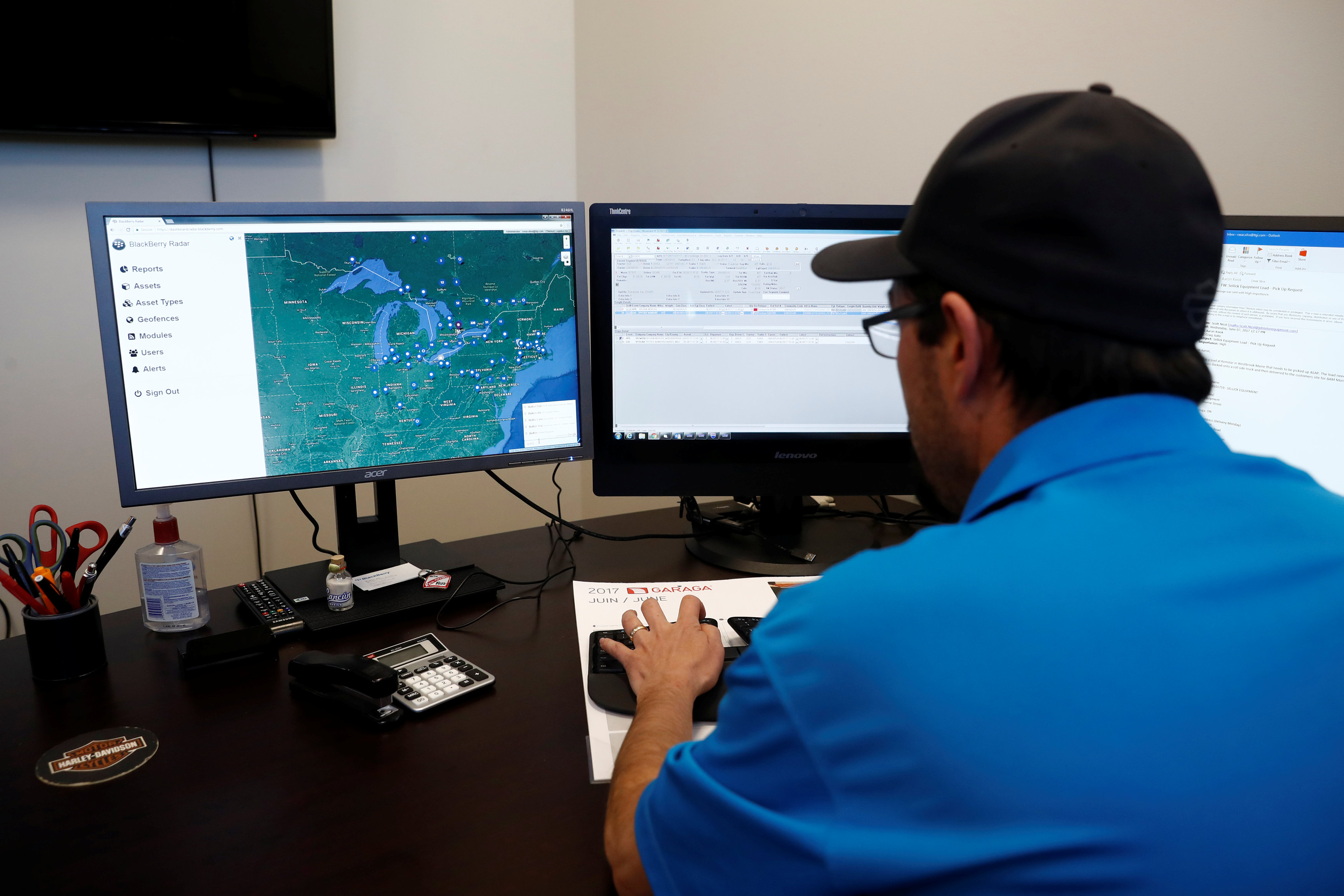 An operator demonstrates the software used in the BlackBerry fleet-tracking service known as Radar, which uses $400 boxes to collect and transmit information on movement, temperature and physical contents of truck trailers, at the Titanium Transportation trucking firm in Bolton, Ontario, Canada on June 7, 2017. Picture taken on June 7, 2017.    REUTERS/Mark Blinch