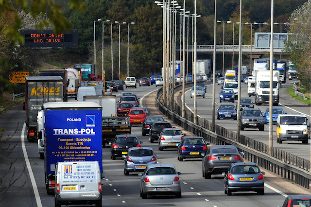 Traffic on the M1 motorway near Junction 16.