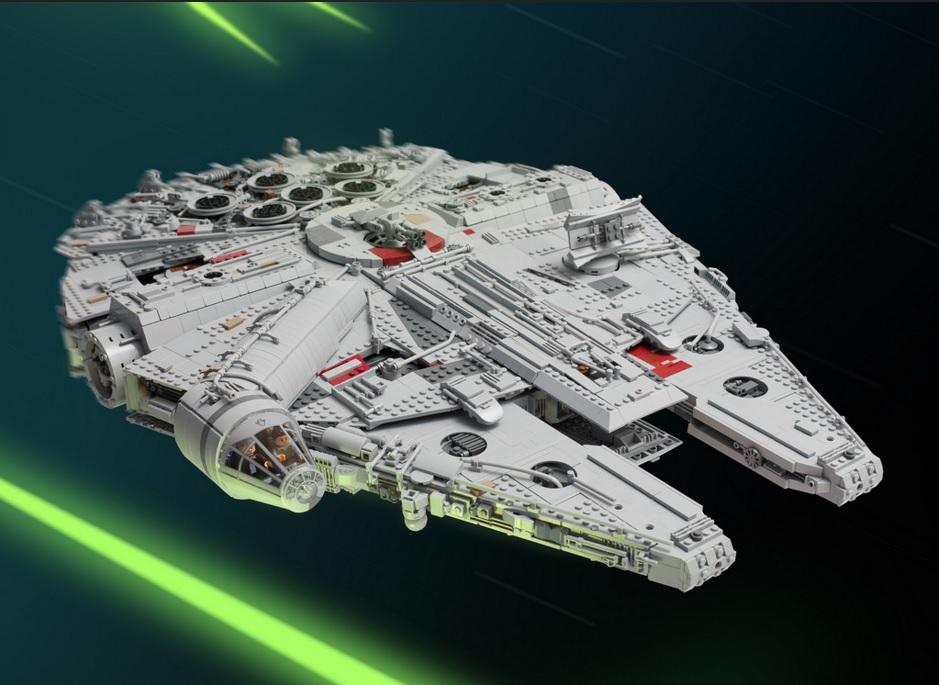 star wars, lego, millennium falcon, han solo, model, replica, the force awakens