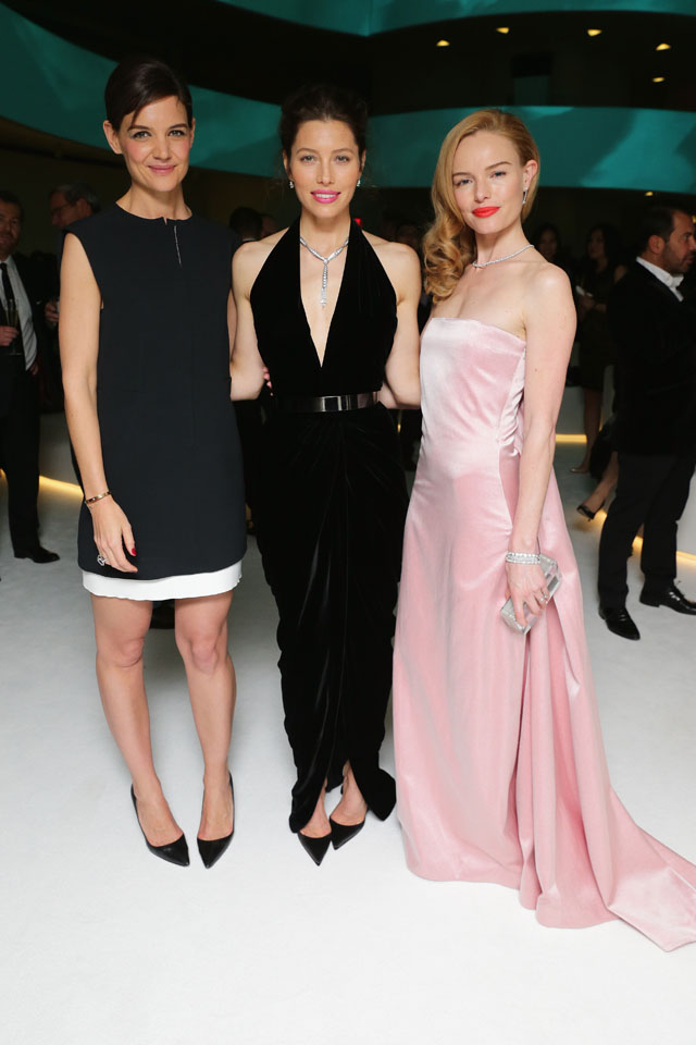 NEW YORK, NY - APRIL 10:  Katie Holmes, Jessica Biel and Kate Bosworth attend the Tiffany Debut of the 2014 Blue Book on April 10, 2014 at the Guggenheim Museum in New York, United States.  (Photo by Neilson Barnard/Getty Images for Tiffany & Co.)