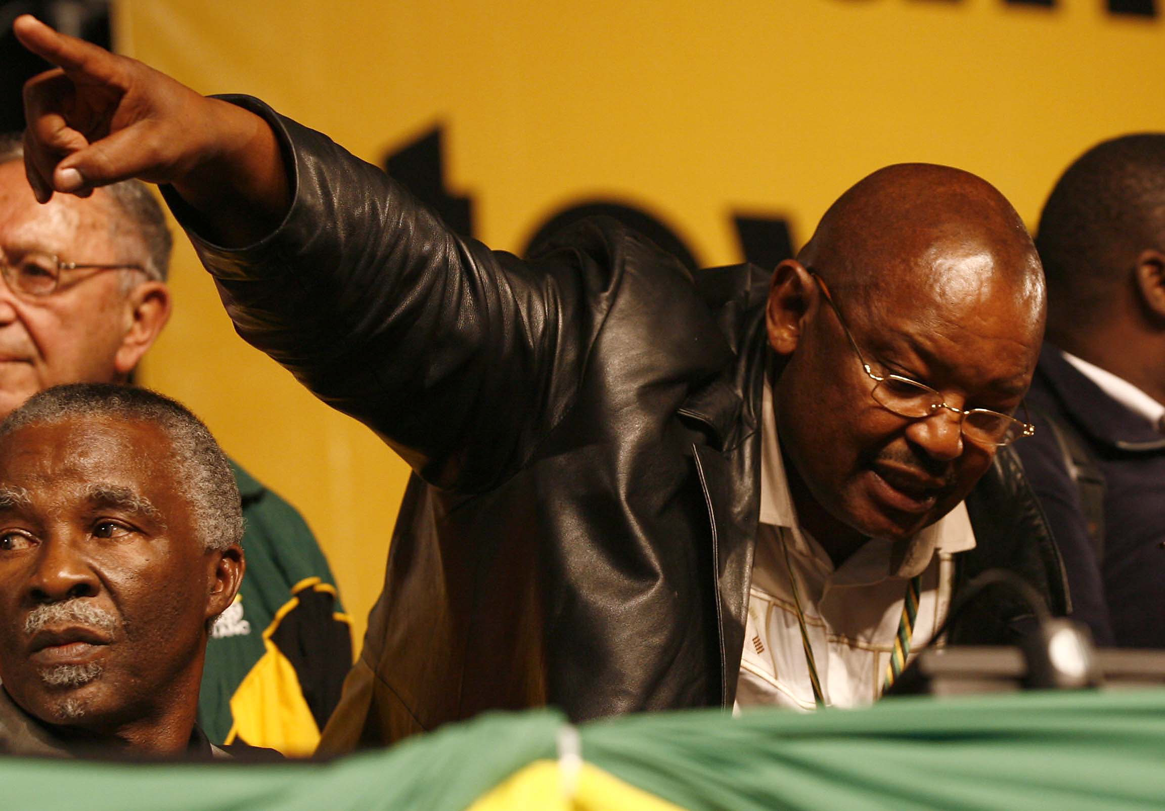 Mosioua Lekota, then the ANC's chairperson, struggles to contain the jeering and booing on the opening...