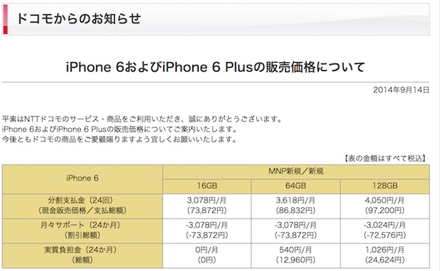 fb521692e9 ドコモがiPhone 6 / 6 Plus価格発表、iPhone 6は7万3872円〜、6 Plusは8万6832円〜。下取り最大4万3200円引き  - Engadget 日本版