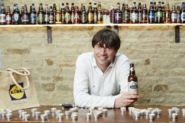 Alex James with the new range of beers
