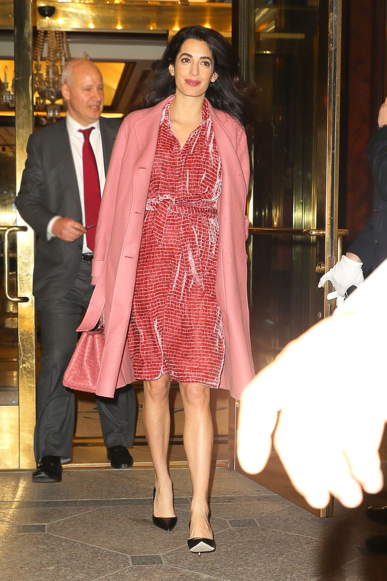 EXCLUSIVE: **PREMIUM EXCLUSIVE RATES APPLY** Amal Clooney looks radiant in a pink velvet dress and pink coat with matching bag while leaving a private dinner in New York City <P> Pictured: Amal Clooney <B>Ref: SPL1458884  080317   EXCLUSIVE</B><BR/> Picture by: Felipe Ramales / Splash News<BR/> </P><P> <B>Splash News and Pictures</B><BR/> Los Angeles: 310-821-2666<BR/> New York: 212-619-2666<BR/> London: 870-934-2666<BR/> photodesk@splashnews.com<BR/> </P>