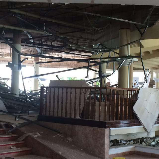 Couple's horror as hotel roof collapses during wedding rehearsal