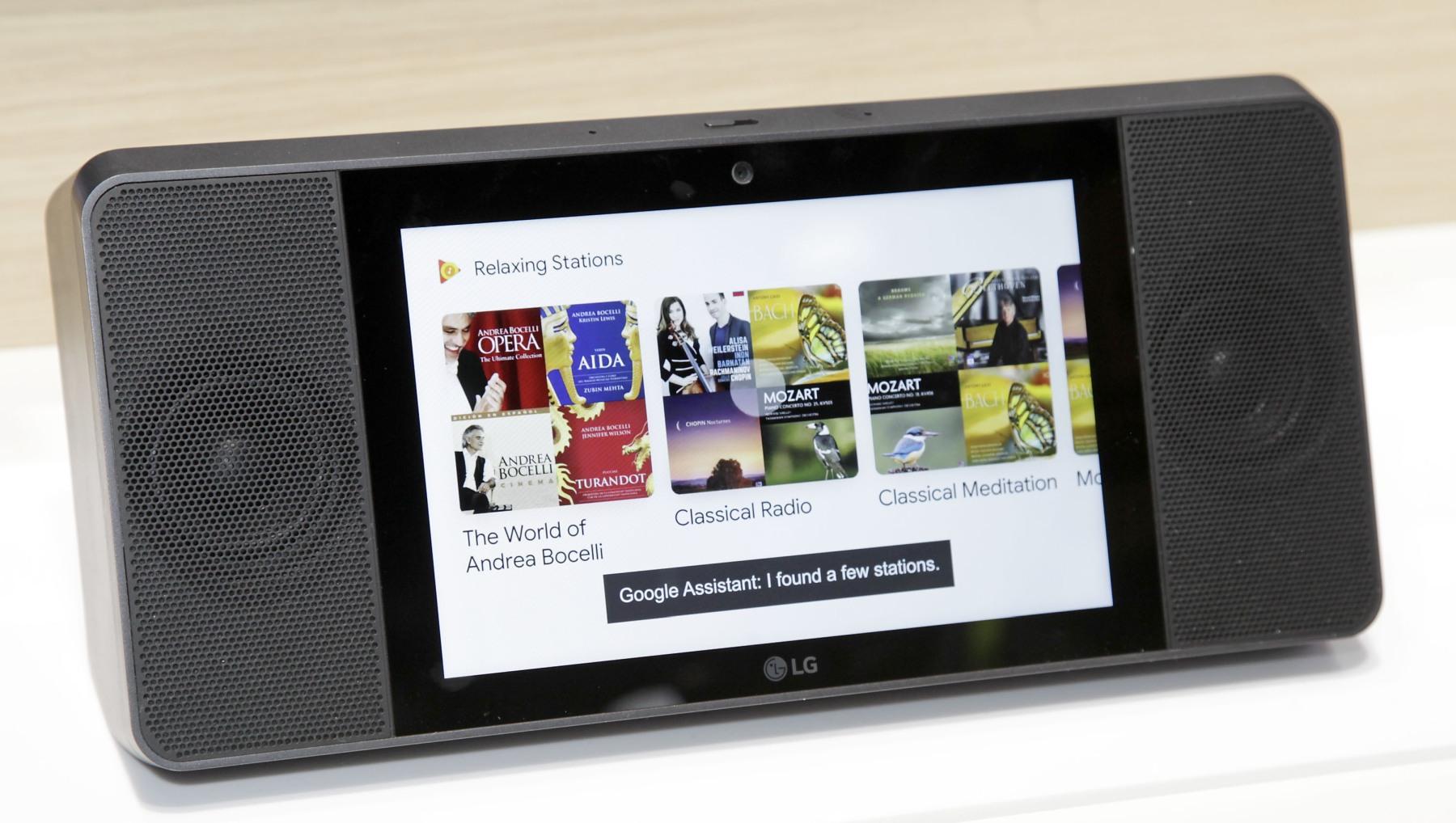 Google Play Music homescreen on the LG Smart Display