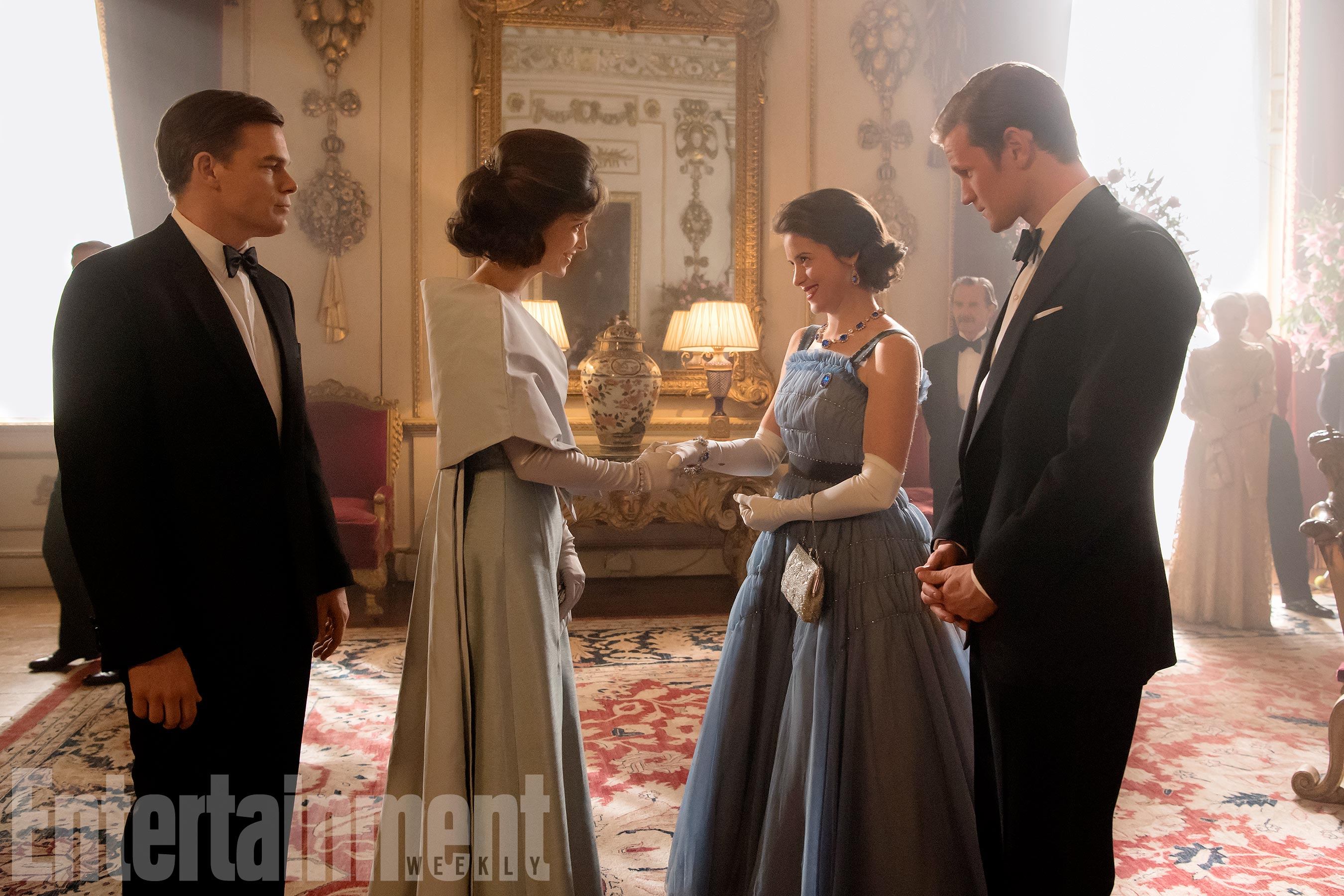 The Crown(L to R) Michael C. Hall, Jodi Balfour, Claire Foy, Matt Smith