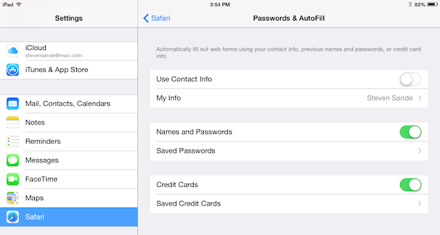 iOS 7 Safari Passwords & Autofill settings