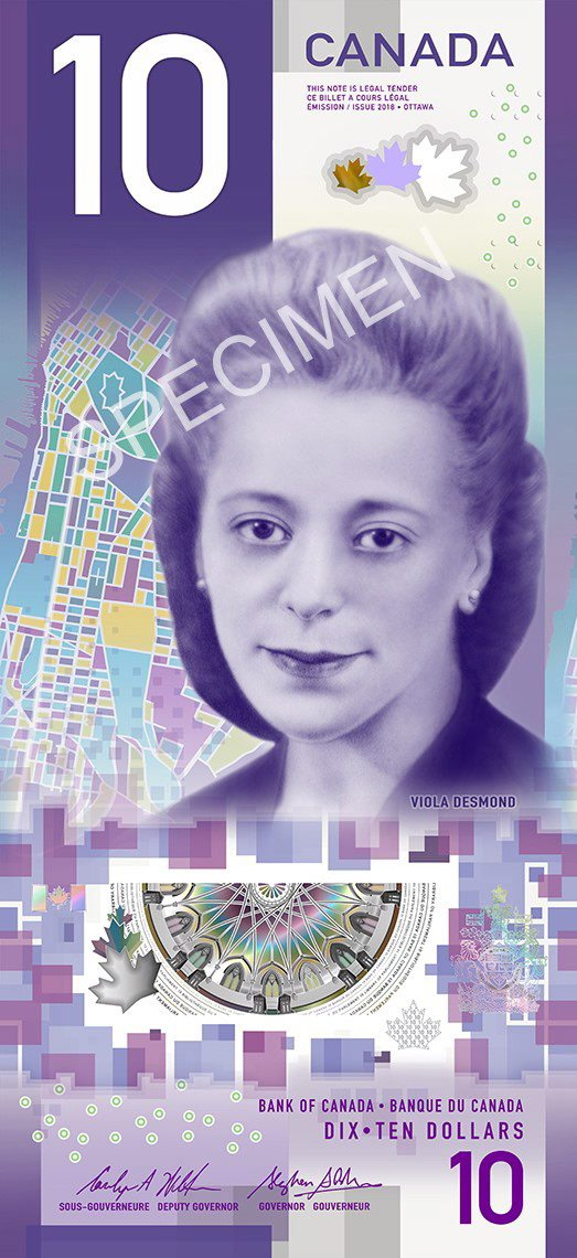 A sample of the new $10 Canadian bill, featuring civil rights icon Viola