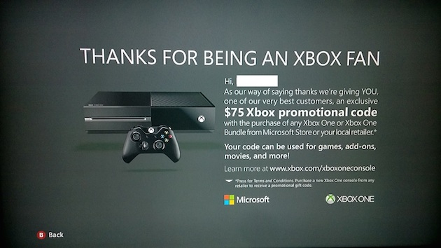 microsoft offering 75 credit if gamers upgrade to an xbox one update